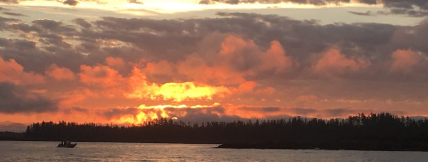 Sunrise on our Fishing Charter at King Pacific Lodge